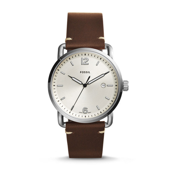 FOSSIL OROLOGIO THE COMMUTER A TRE LANCETTE IN PELLE MARRONE CON DATARIO