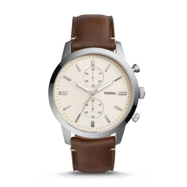 FOSSIL CRONOGRAFO TOWNSMAN 44 MM IN PELLE MARRONE