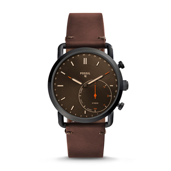 FOSSIL SMARTWATCH IBRIDO – Q COMMUTER CON CINTURINO IN PELLE MARRONE SCURO