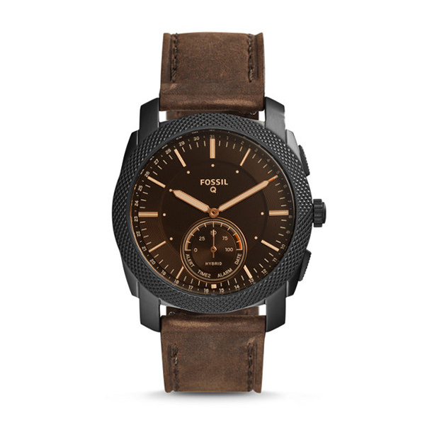 FOSSIL SMARTWATCH IBRIDO - Q MACHINE CON CINTURINO IN PELLE MARRONE SCURO