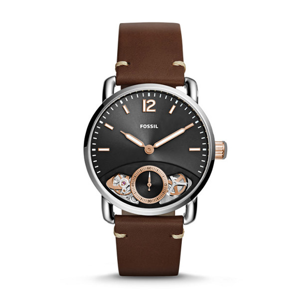 FOSSIL OROLOGIO THE COMMUTER TWIST IN PELLE MARRONE
