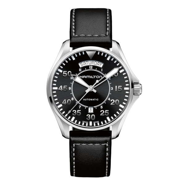 HAMILTON KHAKI-AVIATION - khaki pilot day date nero