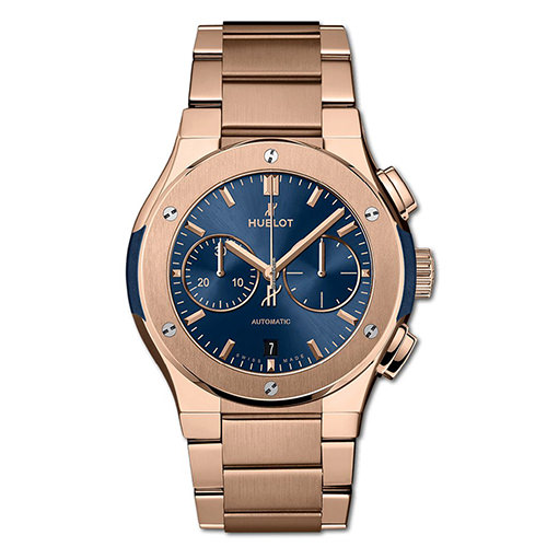 HUBLOT CLASSIC FUSION CHRONOGRAPH KING GOLD BLUE BRACELET 42 mm