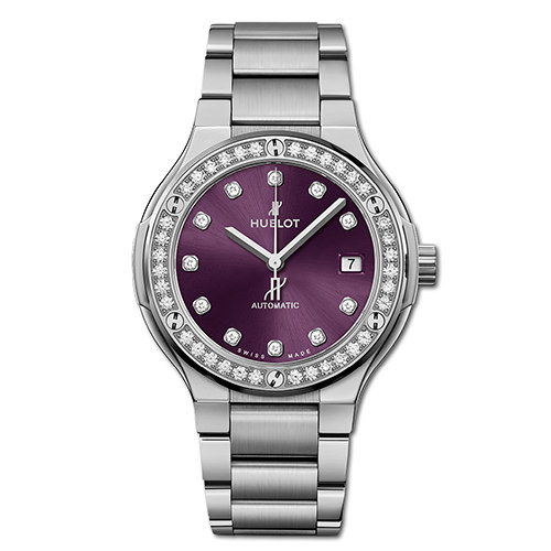 HUBLOT CLASSIC FUSION TITANIUM PURPLE DIAMONDS BRACELET 38 mm