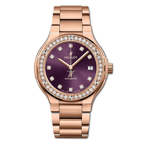 HUBLOT CLASSIC FUSION KING GOLD PURPLE DIAMONDS BRACELET 38 mm