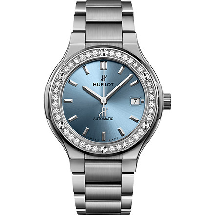 HUBLOT TITANIUM LIGHT BLUE BRACELET 38 mm
