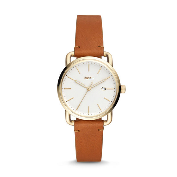fossil THE COMMUTER THREE-HAND DATE TAN LEATHER WATCH