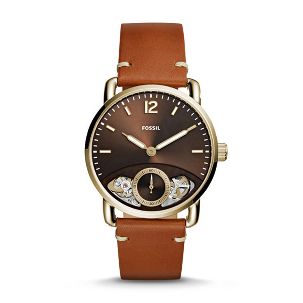 fossil OROLOGIO THE COMMUTER TWIST IN PELLE COLOR CUOIO