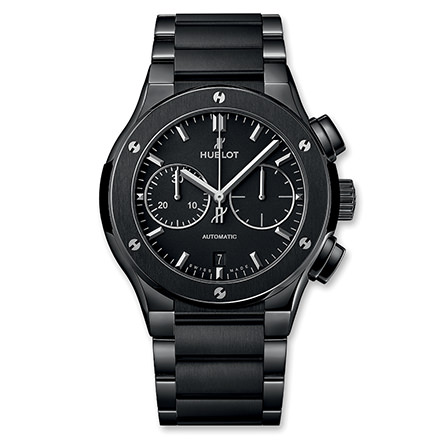 hublot CLASSIC FUSION CERAMIC INTEGRATO BLACK MAGIC BRACIALET CHRONOGRAPH 45 MM