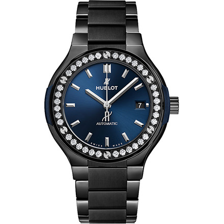 hublot CERAMIC BLUE BRACELET DIAMONDS 38 mm